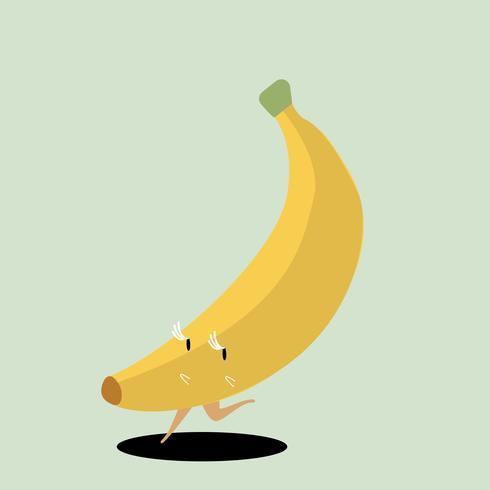 Yellow ripe banana cartoon character vector