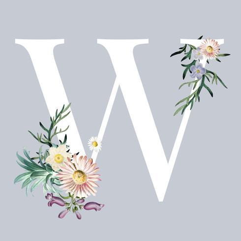 Buchstabe W mit Blüten