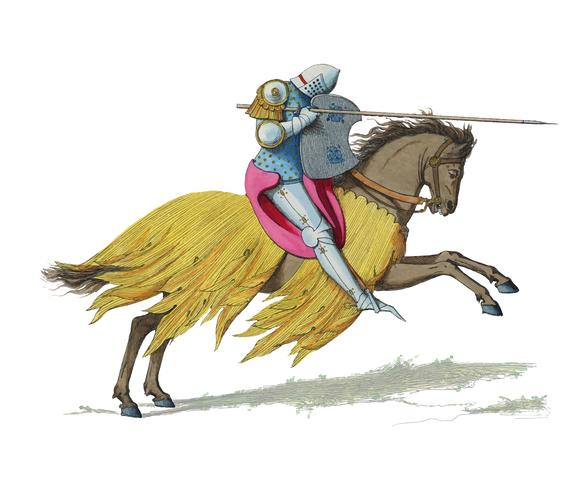 Chevalier Francais, XIVe Siecle, by Paul Mercuri (1860), a knight on horse back with full armor ready to joust. Digitally enhanced by rawpixel.