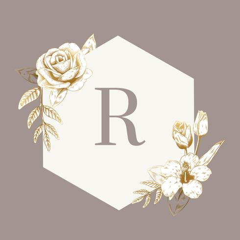 Emblème floral vintage
