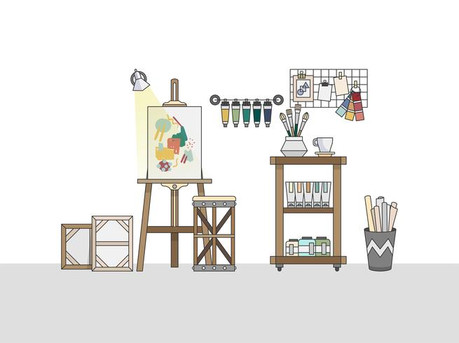 Workspace of an artistic painter