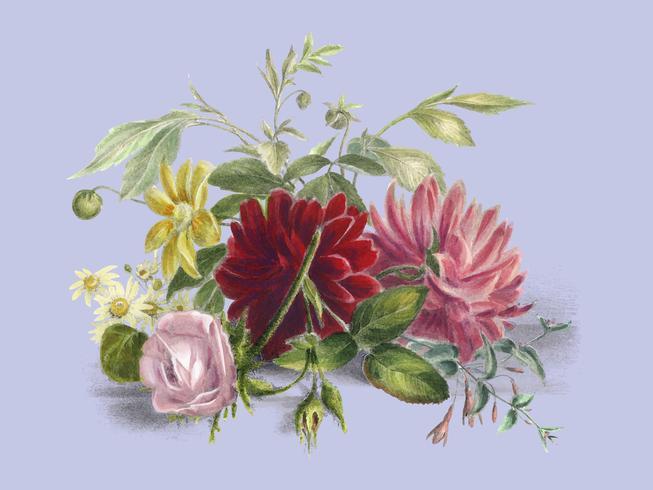 Bodegón colorido de flores (1850), un arreglo de hermosas flores. Mejorado digitalmente por rawpixel.