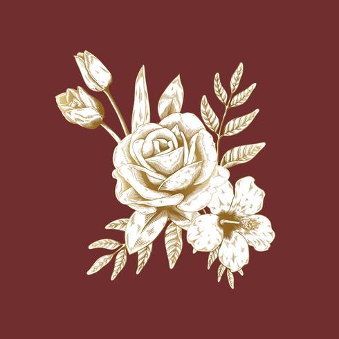 Vintage rosebukettteckning