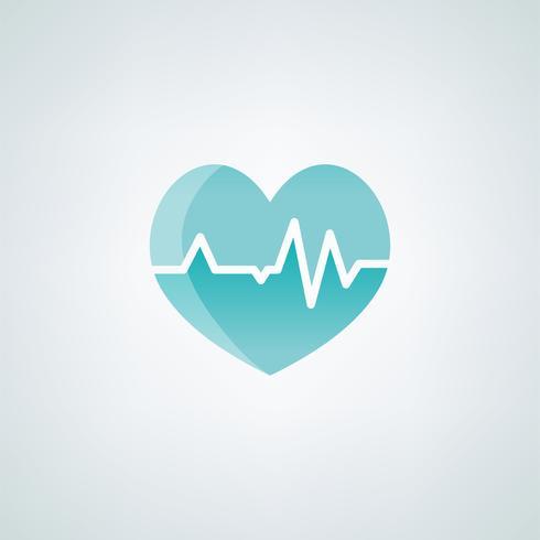 coração com ilustração médica de ícone de cardiógrafo