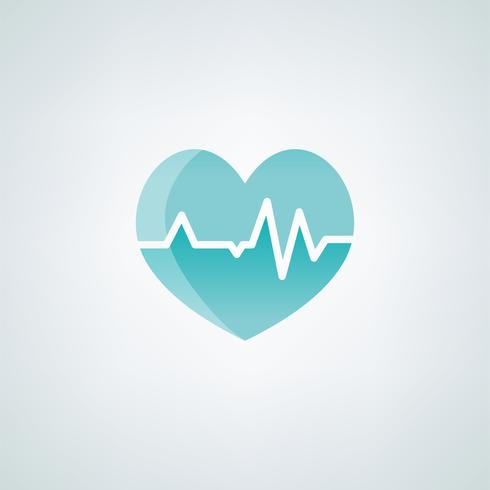 corazón con cardiógrafo icono médico ilustración