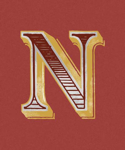 Vintage-Typografieart des Großbuchstaben N