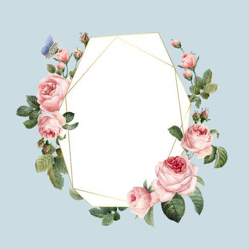 Cadre de roses roses vierges dessinés à la main sur le vecteur de fond bleu