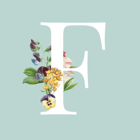 Typographie de lettre F de style floral