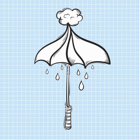 Illustration de parapluie et de pluie isolé sur fond