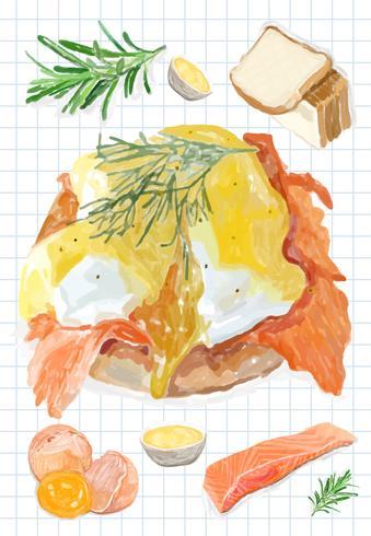 Mão desenhada ovos Benedict estilo aquarela