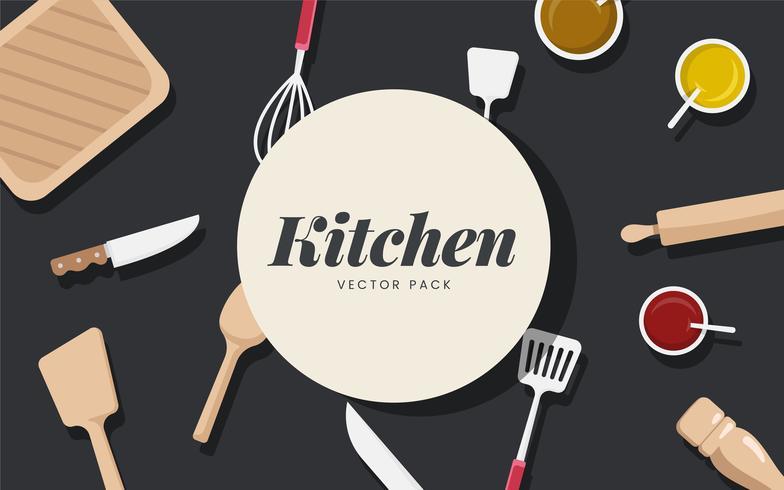 Conjunto de vectores de utensilios e ingredientes de cocina
