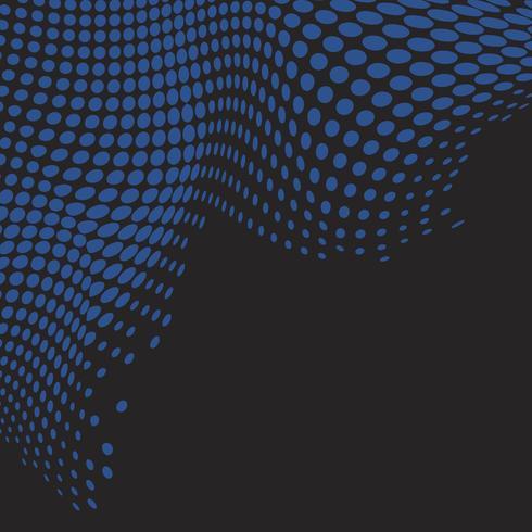 Vecteur de fond noir demi-teinte ondulée bleu