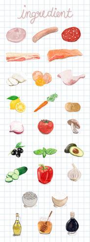 Handgjorda livsmedelsingredienser akvarell stil