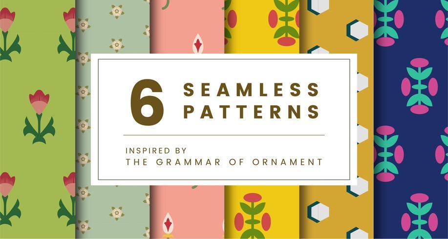 Set van 6 vintage patronen geïnspireerd op The Grammar of Ornament