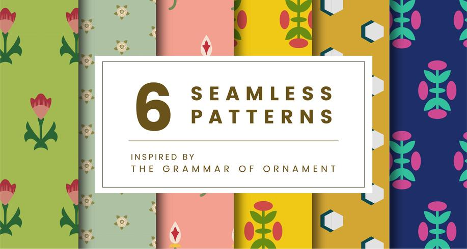 Set di 6 modelli vintage ispirati a The Grammar of Ornament