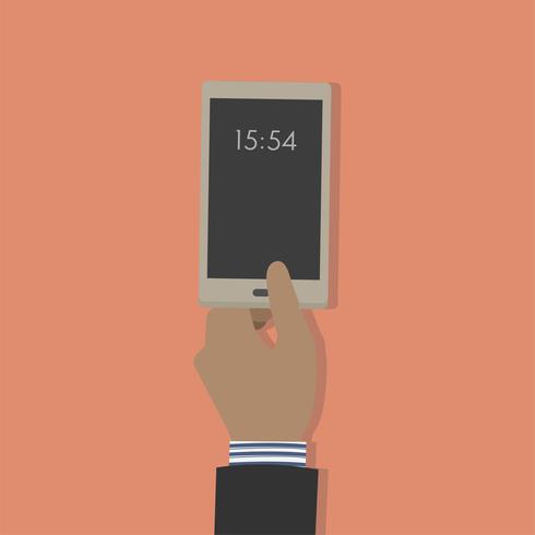 Illustration av en hand som håller en mobiltelefon