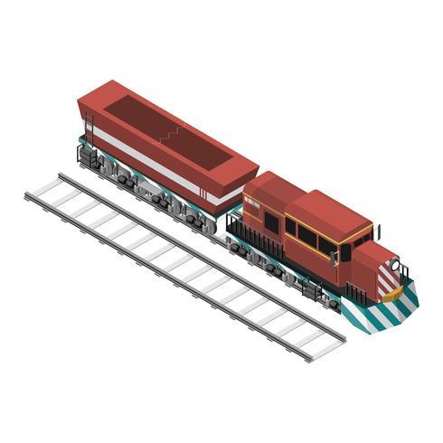 Trainieren Sie auf einer Eisenbahn, die auf Hintergrund lokalisiert wird