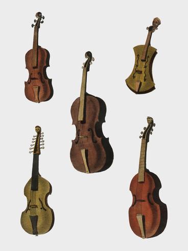 En samling av antikviol, violin, cello och mer från Encyclopedia Londinensis; eller universell ordbok för konst, vetenskap och litteratur (1810). Digitalt förbättrad av rawpixel.