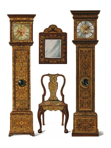 Un'illustrazione di mobili edoardiani (1905) disegnata da Shirley Slocombe, un design meravigliosamente dettagliato di una sedia in legno, uno specchio incorniciato e due orologi a pendolo. Miglioramento digitale di rawpixel.