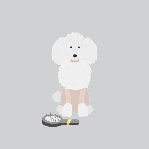 Gullig illustration av en pudelhund