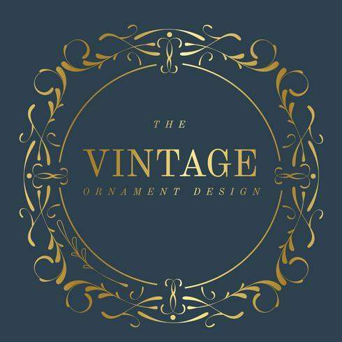 Vintage gyllene art nouveau emblem på blå vektor