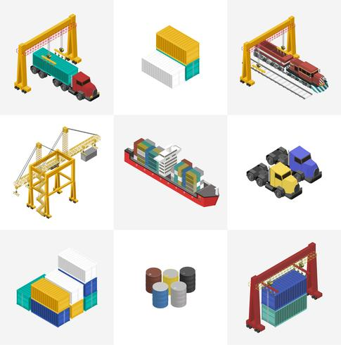 Icona isolata industriale di affari di logistica su fondo
