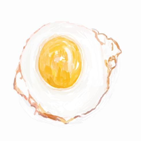 Mão desenhada estilo aquarela ovo cozido vetor