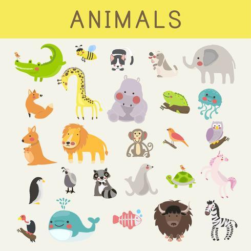 Illustration ritning stil uppsättning av vilda djur