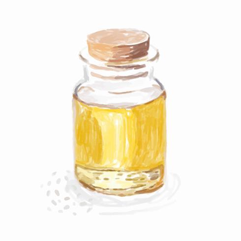 Disegnato a mano stile acquerello olio di sesamo