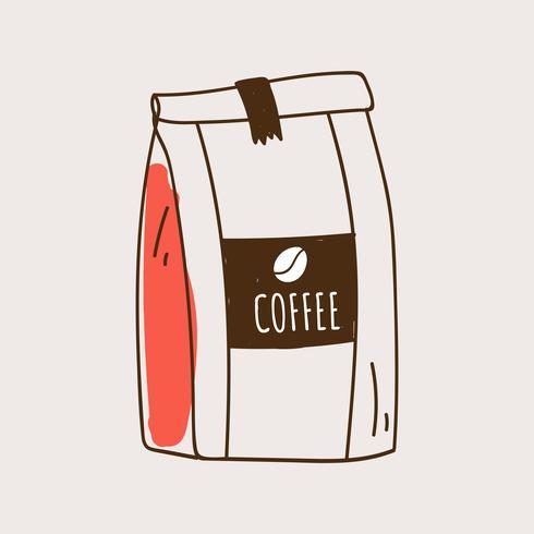 Vettore dell'icona della borsa dei chicchi di caffè