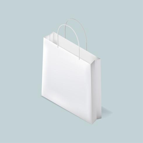Vetor de ícone branco saco de compras