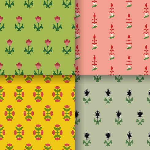 Set med 4 vintage mönster inspirerade av prydnadens grammatik
