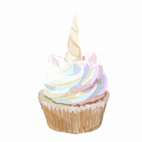 Hand drawn cupcake watercolor style