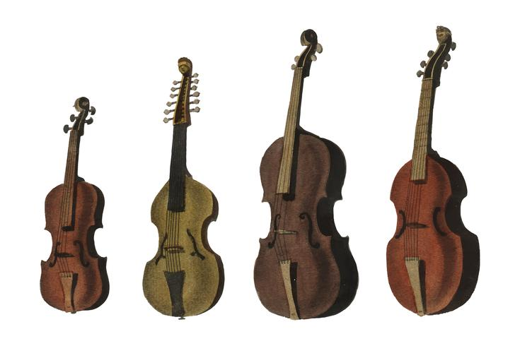 Una colección de violín antiguo, viola, cello y más de la Enciclopedia Londinensis; o Diccionario Universal de las Artes, las Ciencias y la Literatura (1810). Mejorado digitalmente por rawpixel.