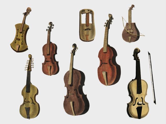 Musik (1850) publicerad i Köpenhamn, en vintageillustration av violin, klassisk gitarr och flöjtvarianter. Digitalt förbättrad av rawpixel.