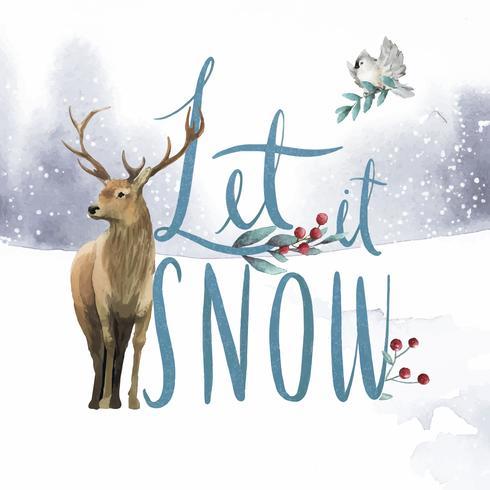 Deja que nieve vector tipografía acuarela