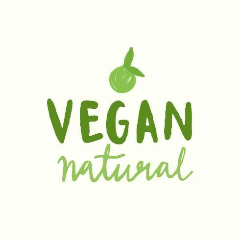 Vettore di tipografia naturale vegano in verde