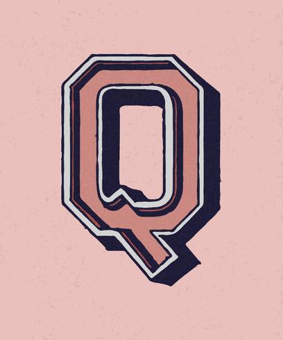 Mayúscula Q tipografía vintage estilo