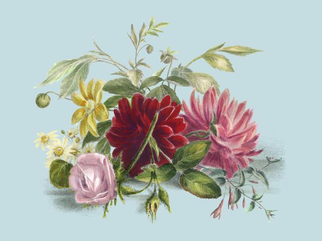 Färgglatt stilleben av blommor (1850), ett arrangemang av vackra blommor. Digitalt förbättrad av rawpixel.
