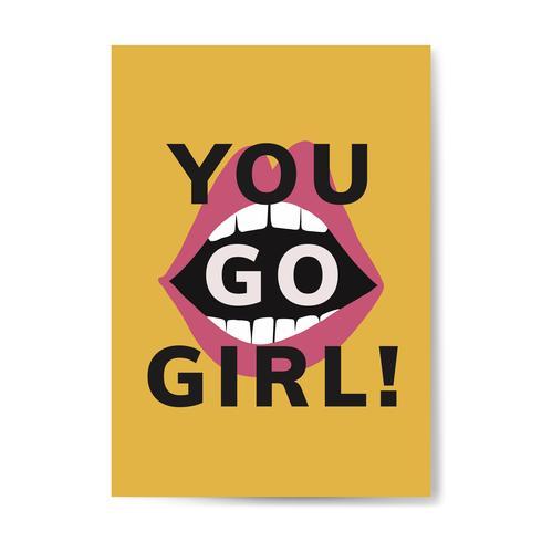 Tu vai ragazza tipografia vettoriale