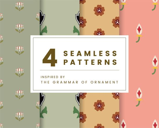 Set of 4 vintage patterns inspired by The Grammar of Ornament