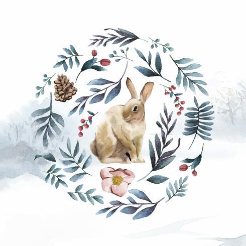 Coelho, rodeado por flores de inverno, pintado pelo vetor de aquarela