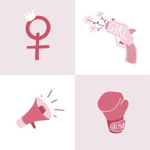 Set of pink feminist badge vectors