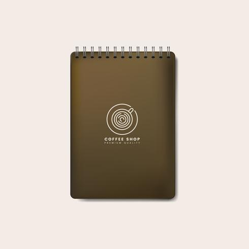Spiral brown notebook mockup isolated vector