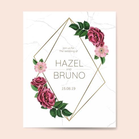 Invitation de mariage avec vecteur de design cadre floral