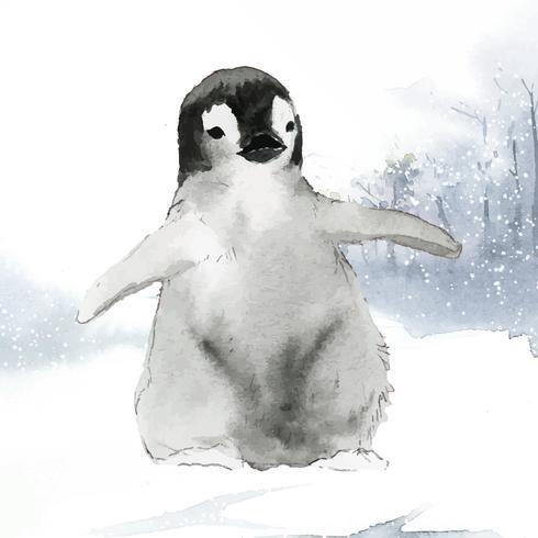 Pingüino emperador joven en el vector acuarela de nieve