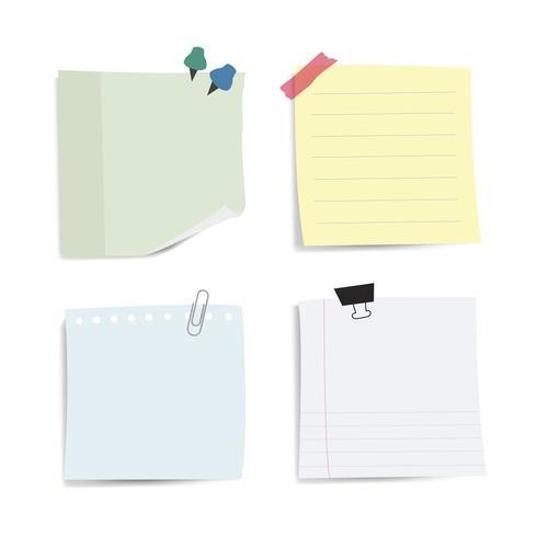 Blank påminnelse papper noter vektor uppsättning