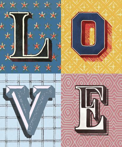 Hou van woord vintage typografie stijl