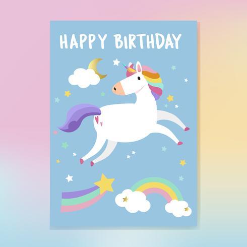 Happy birthday unicorn card vector