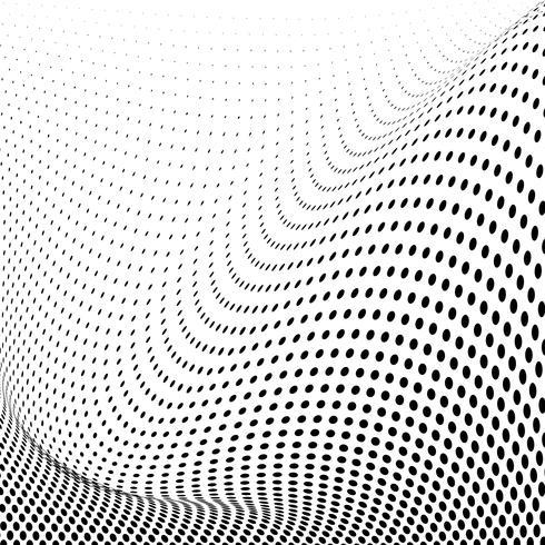 Vecteur de fond de demi-teinte ondulée noir et blanc
